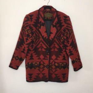 Woolrich vintage Aztec red wool coat tribal M